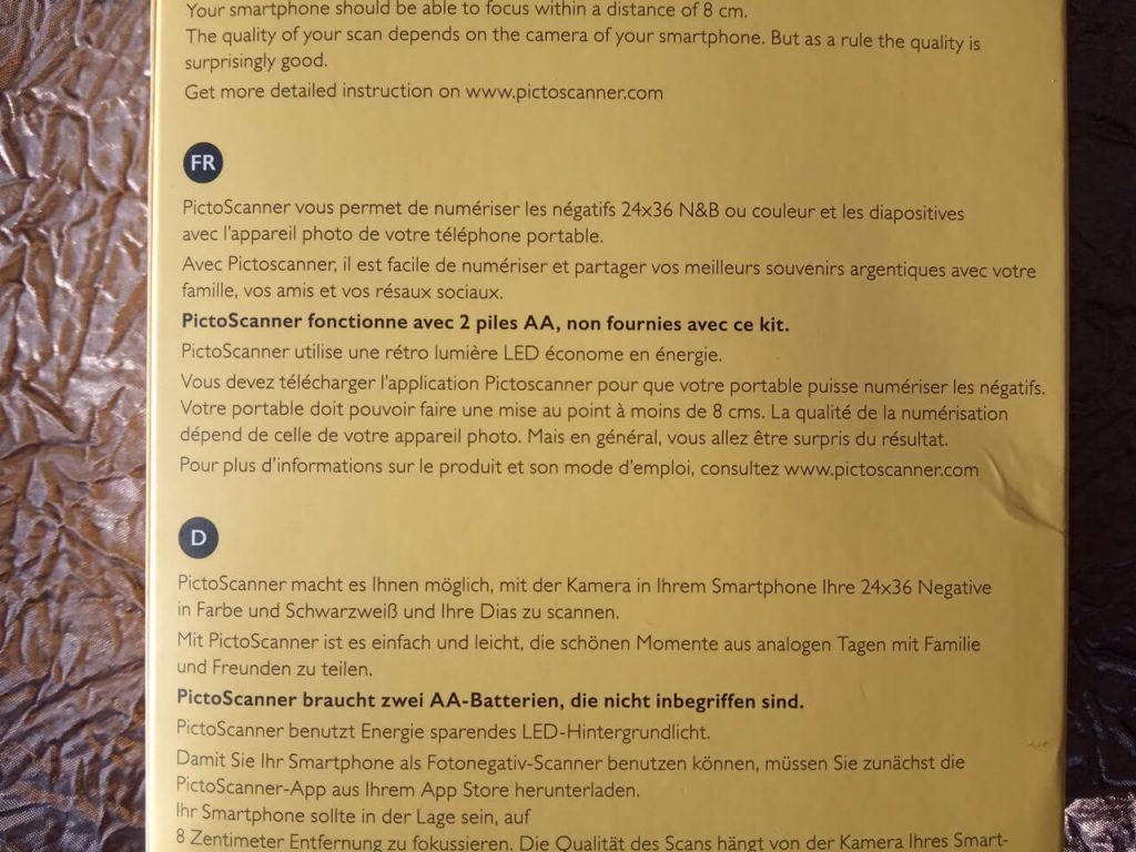 Instructions du Pictoscanner