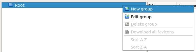 KeePass - clic droit sur le dossier racine
