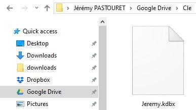Insérer le fichier de base de données KeePass dans le répertoire Cloud