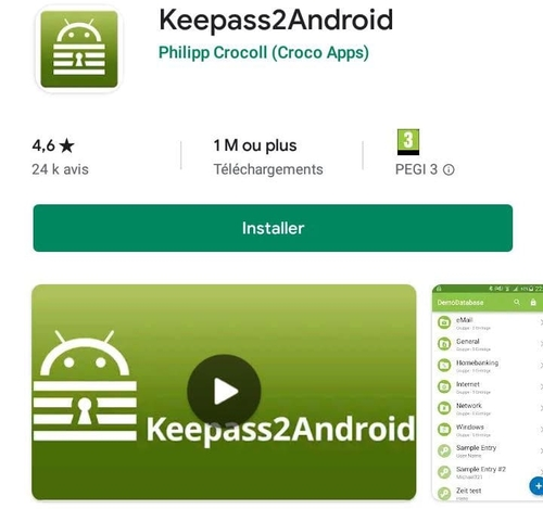Installation de Keepass2Android