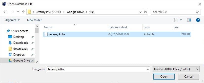 KeePass - Ouverture de fichier Cloud