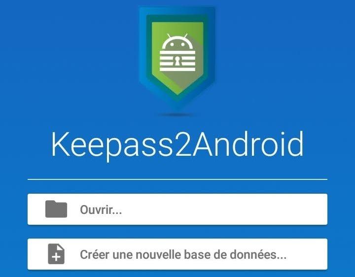 Lancement de l'application Keepass2Android