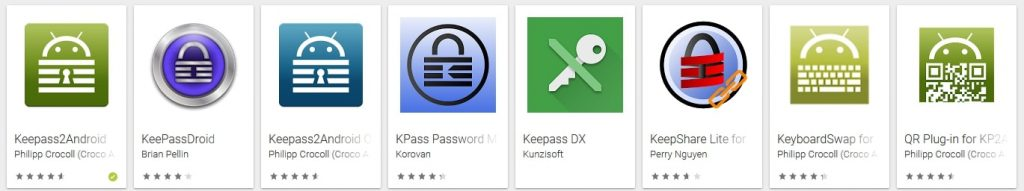 Liste Applications Android pour KeePass