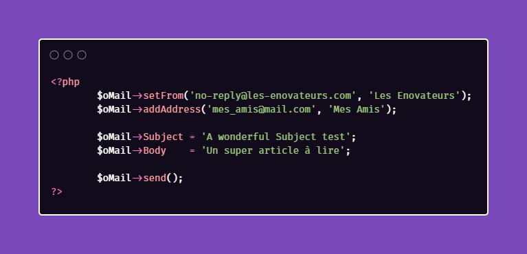 Paramètres PHPMailer