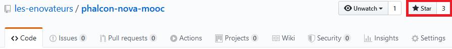 Appuyer sur le bouton Star GitHub