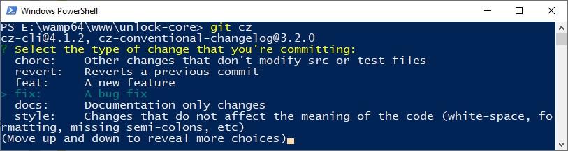1ère étape Commitizen - Git cz - type
