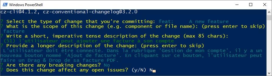 4ème étape Commitizen - git cz - Breaking change