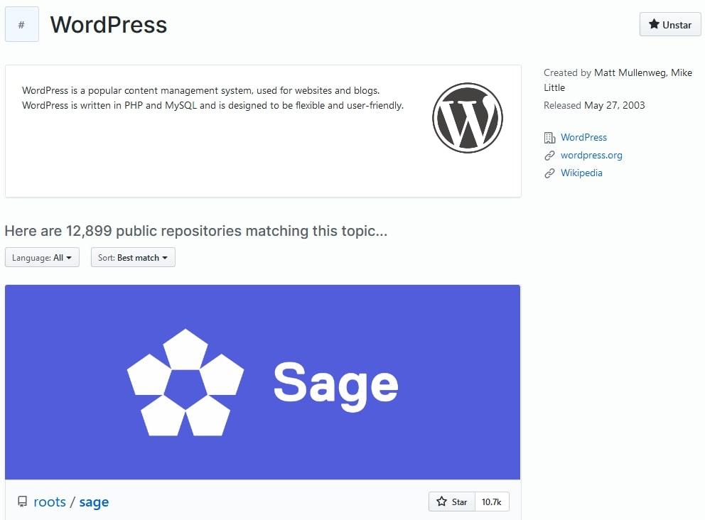 Github veille - sujet WordPress
