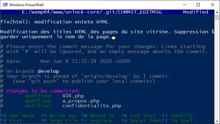 Modification du message de git commit
