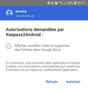 Autorisation Keepass2Android pour accéder à Google Drive