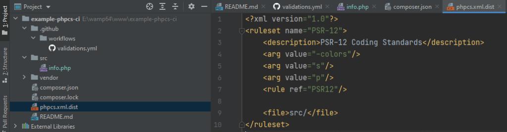 Création d'un fichier de configuration pour PHP CodeSniffer