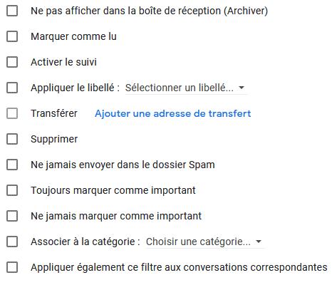 Les options possibles en créant des filtres Gmail