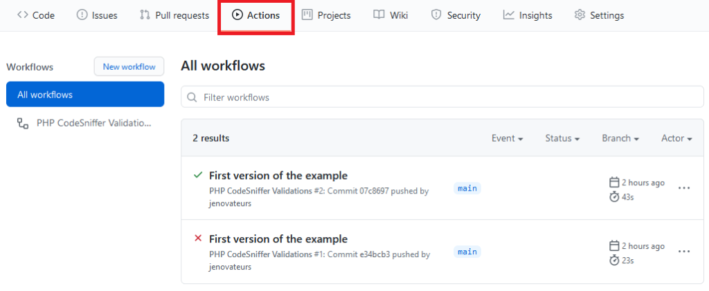 Vérifier le processus GitHub Actions avec PHP CodeSniffer