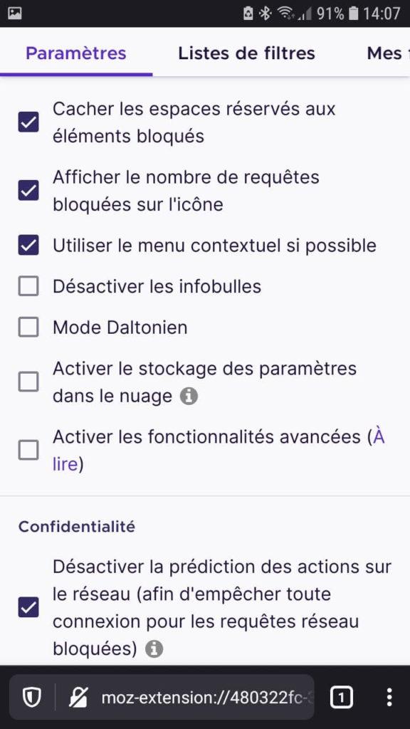 Liste des paramètres de l'extension uBlock Origin