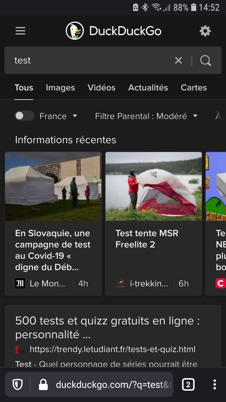 Ouvrir Firefox pour mobile et accéder à une page Web