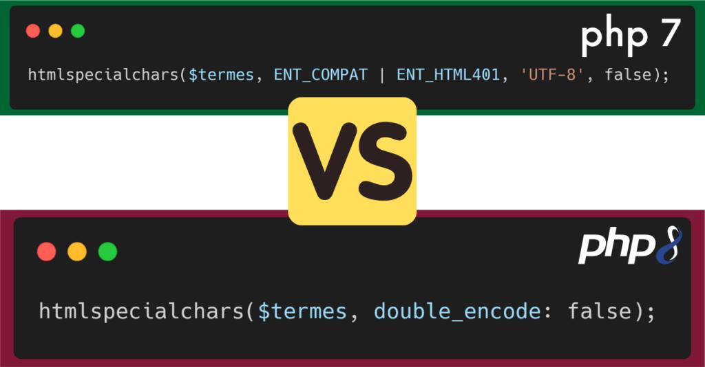 PHP 7 versus PHP 8 - Arguments nommés