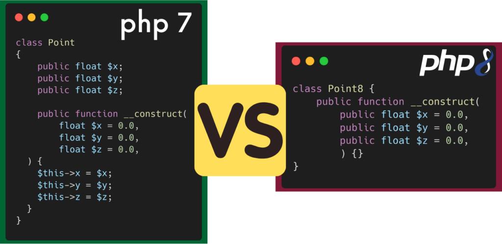 PHP 7 versus PHP 8 - Construction simplifié et performante de classe