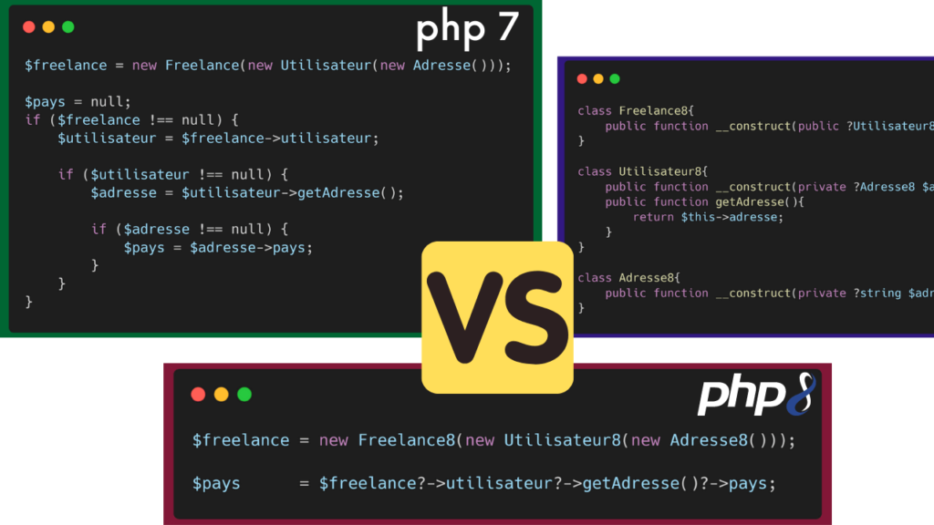 PHP 7 versus PHP 8 - Opérateur NullSafe