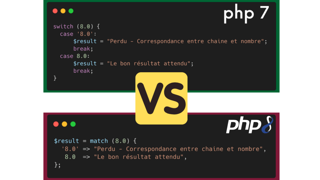 PHP 7 versus PHP 8 - Switch - Case & Match