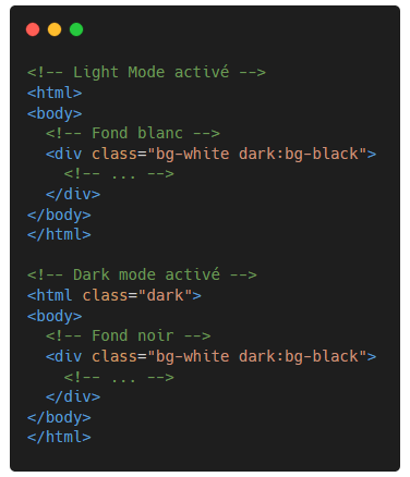 Tailwind CSS - Ajout de la class dark - activer Dark mode