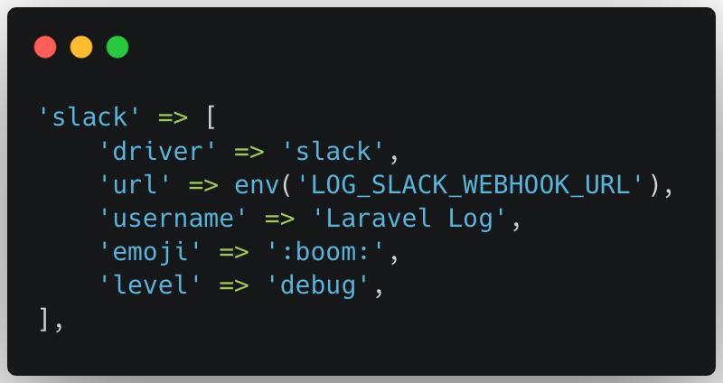 Configuration de Slack dans Laravel