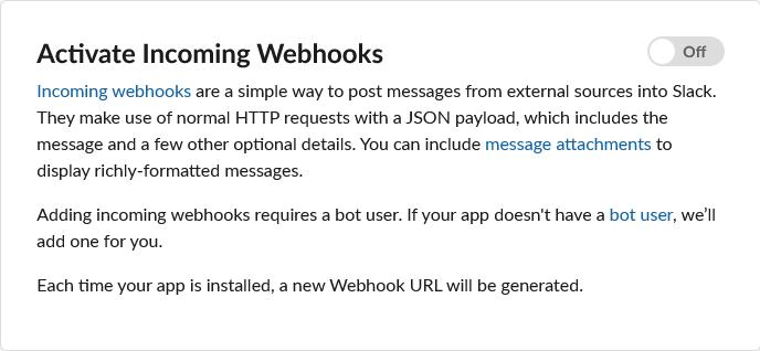Slack - Activer le Webhook sur l'app