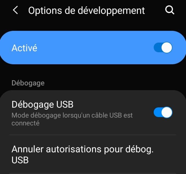 Activer le mode deboguage USB de votre Android pour utiliser scrcpy