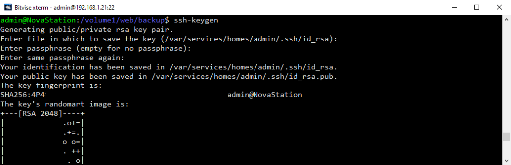 Generate SSH Key Synalogy
