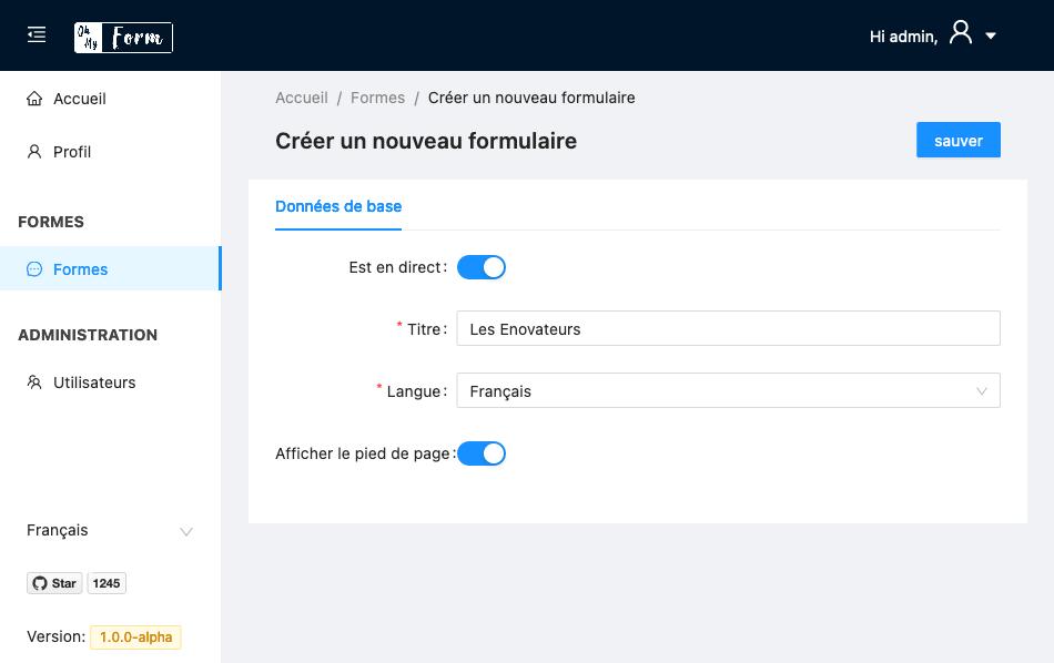 OhMyForm - création de formulaire